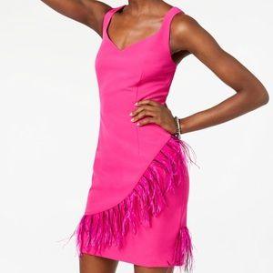 LAUNDY by SHELLI SEAGAL Feather Trim Dress Sz 8